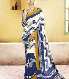 Buy Cream and  Navy Blue Printed Georgette Saree with blouse georgette-saree online