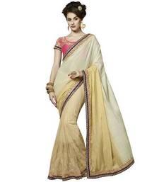 Buy Offwhite  and  Beige printed jute_cotton saree with blouse jute-saree online