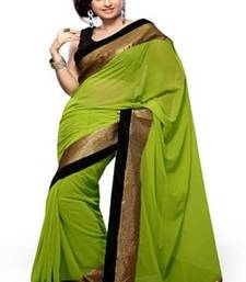Buy Green Chiffon saree with blosue chiffon-saree online