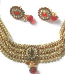 Buy Red Bridal Choker necklace-set online