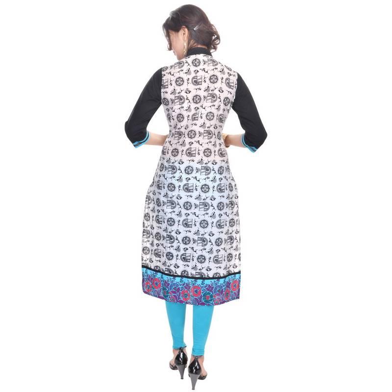 Buy Chinese Collar V-Neck Cotton Kurti Online