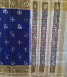 Buy blue and off white hand_woven silk saree with blouse silk-saree online