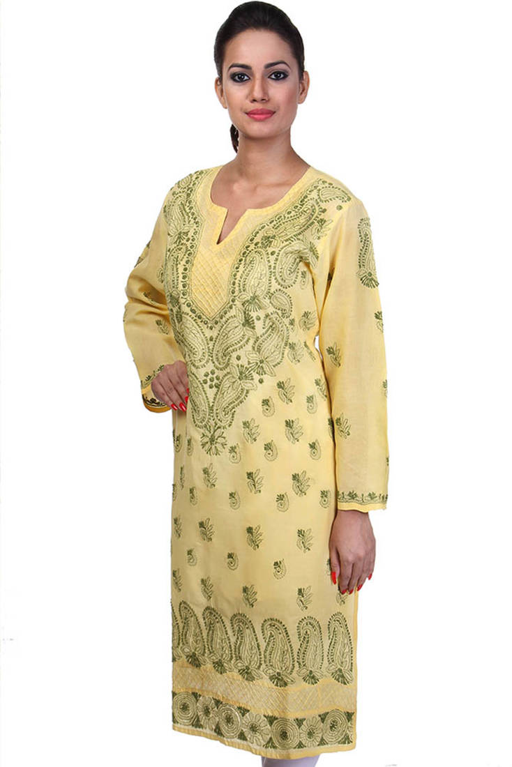 Buy ada hand embroidered medium yellow cotton lucknow
