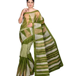 Buy Green printed cotton_poly saree with blouse printed-saree online