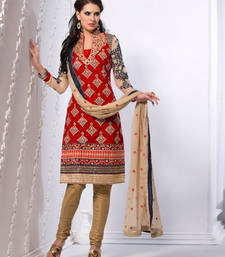 Buy Red And Cream Velvet And Shimmer Heavy Embroidery Semi Stitched Salwar Suit ethnic-suit online