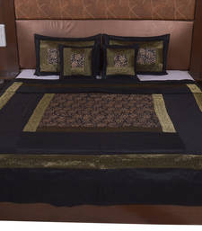 Buy Polysilk Hand Gold Print Bed Cover Set bed-sheet online