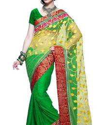 Buy Green and Yellow Net And Viscose Half And Half Saree with Blouse net-saree online