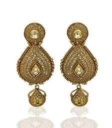 Buy Stunning & Designer Long Earring Set with White Ruby Stone for Bridal Women Jewellery Earrings Other online