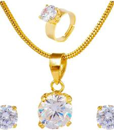 Buy CRYSTAL pendant set with finger ring jewellery-combo online