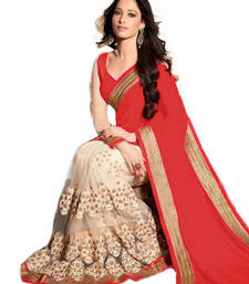 Buy Red plain georgette saree with blouse printed-saree online