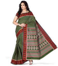 Buy dark_green printed cotton saree with blouse cotton-saree online