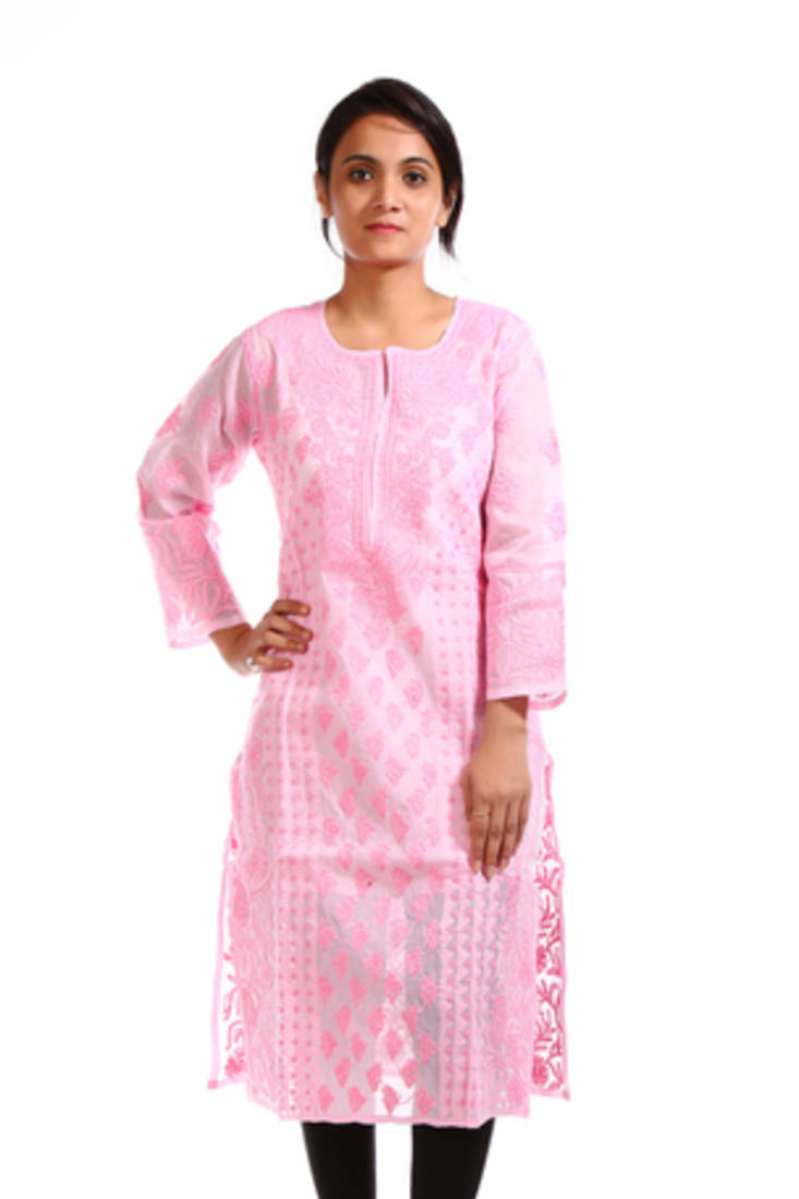 Buy ada hand embroidered small pink cotton lucknow