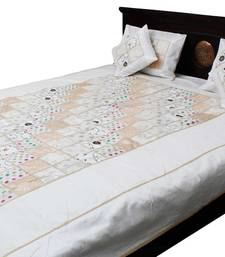 Buy white embroidered silk bed-sheets bed-sheet online