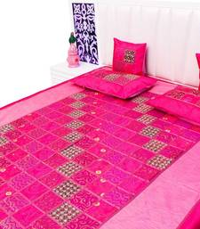 Buy pink printed silk bed-sheets bed-sheet online