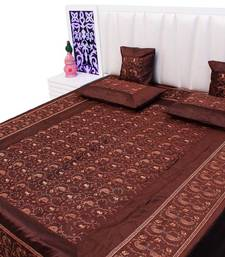 Buy brown embroidered silk bed-sheets bed-sheet online