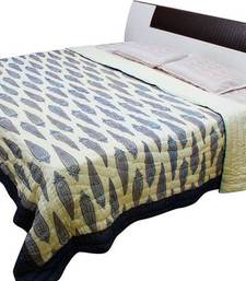 Buy creami blue printed cotton quilts quilt online