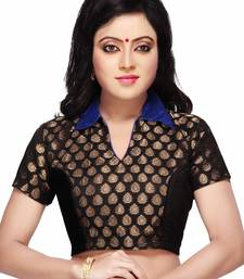 Buy black chanderi and raw silk semi stitched blouse blouse online