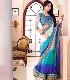 Buy blue and white embroidered satin saree with blouse satin-saree online