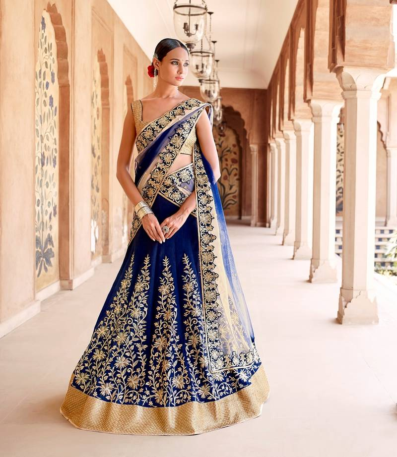 Buy Royal Blue And Gold Embroidered And Embelished Net