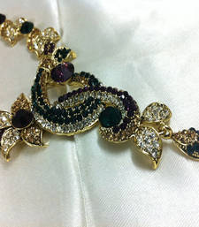 Buy Beautiful Purple And Green Diamond Like Fashion Jewelry Set Necklace online
