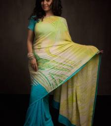 Buy Firozi Blue & Lime Green Satya Paul Saree  georgette-saree online