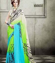 Buy Multicolor printed crepe silk saree with blouse crepe-saree online