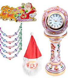 Buy Marble Table Clock n Santa Mask with Garland Gift 141 christmas-decoration online