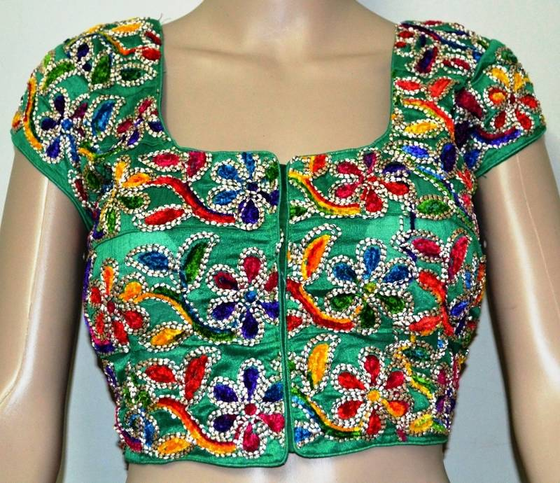 Buy Green Kutch Embroidery Blouse Online