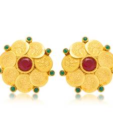 Buy Gorgeous Gold Plated Temple Jewellery Coin Earring for Women hoop online