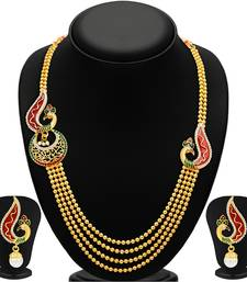 Buy Glistening Peacock Four Strings Gold Plated Necklace Set necklace-set online