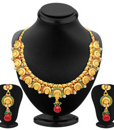 Buy Ritzy Gold Plated Temple Jewellery Necklace Set necklace-set online