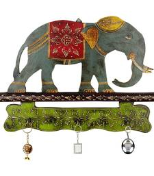 Buy Meenakari Work Elephant Procession 3 Key Stand 152 wall-art online