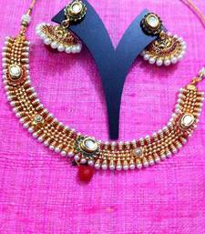 Buy Truly warm Indian ethnic necklace set with kundan in red green flowers ha351 Necklace online
