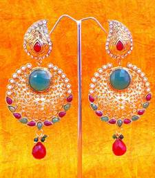Indian Vintage Jewelry -Antique Red Green Pearl Polki Cut Work Earring s205 shop online