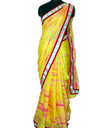 Buy Yellow and pink pure crape saree crepe-saree online