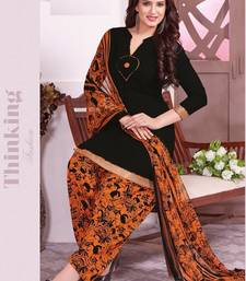 Buy Black printed Crepe unstitched salwar with dupatta dress-material online