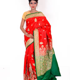 Buy Red and Green embroidered silk saree with blouse banarasi-silk-saree online