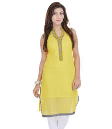 Buy Yellow Free Size Georgette Designer Kurti kurtas-and-kurti online