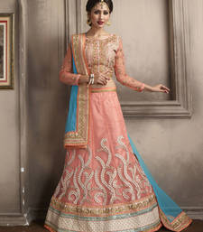 Buy Enigmatic Peach Lovely Embroidered Lehenga Choli punjabi-lehenga online