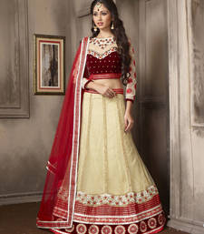 Buy Charming Beige Embroidered Lehenga Choli punjabi-lehenga online