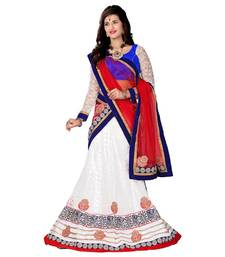 Buy White Embroidered Net Lehenga Choli With  Blouse lehenga-choli online