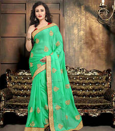 Buy pista embroidered satin saree with blouse satin-saree online