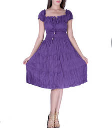 Buy Cotton Plain Purple Color Tyre Dress other-apparel online