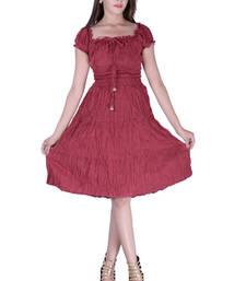 Buy Cotton Plain Maroon  Tyre Color Dress other-apparel online
