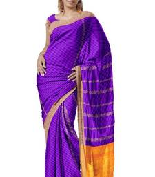 Blue violet Arificial Silk Zari Party Wear Saree Sari PS251 shop online