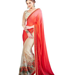 Buy Red and Cream embroidered satin saree with blouse satin-saree online