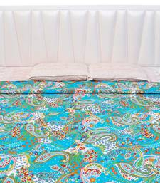 Buy Sky Blue Color Base Paisley Pattern Design Double Bed AC Blanket or Quilt- 112 quilt online