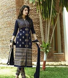 Buy Nevy Blue embroidered Georgette unstitched salwar with dupatta wedding-gift online