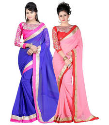 Buy Navi Blue and Pink embroidered chiffon saree with blouse sarees-combo-sari online