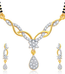 Buy Exquisite Gold and Rhodium Plated CZ Mangalsutra Set For Women mangalsutra online